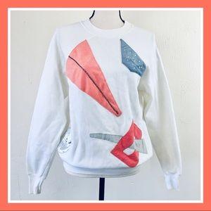 Vintage 80s Sisters Graphic Cream Coral Sweatshirt